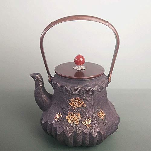 XUSHEN-HU Kaffee-/Teesets, Gusseisen, handgefertigt, Pfingstrosen-Pavillon, unbeschichtet, Gesundheitstopf, 1300 ml