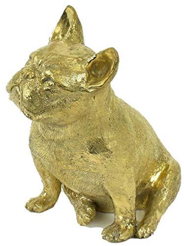 Casa Padrino Luxus Bronzefigur Hund Bulldogge Gold 21 x 15 x H. 22 cm - Bronze Skulptur - Dekofigur - Luxus Deko Accessoires