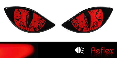 Bike Label 910065VA Reflektor-Aufkleber 3D Böse Augen Auto Motorrad Helm - rot