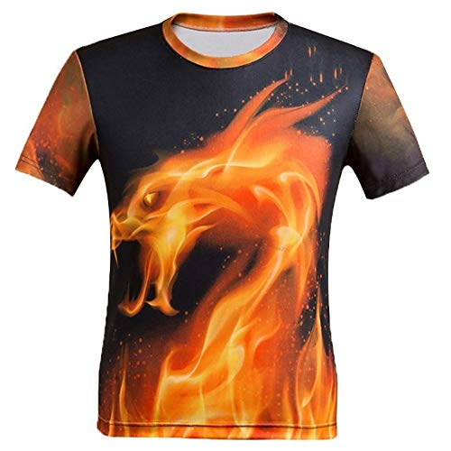 CZPF Heren Compressie Shirt 3D vuur Draak Ademend en sneldrogend Short-Sleeved t-shirt Casual Digitaal afdrukken