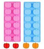Stampi per Cioccolatini e Zucca, 2 Pezzi in Silicone 3D per Caramelle a Forma di Zucca Stampo per Caramelle di Halloween del Ringraziamento, Muffin, Cioccolatini,Torte, Candele
