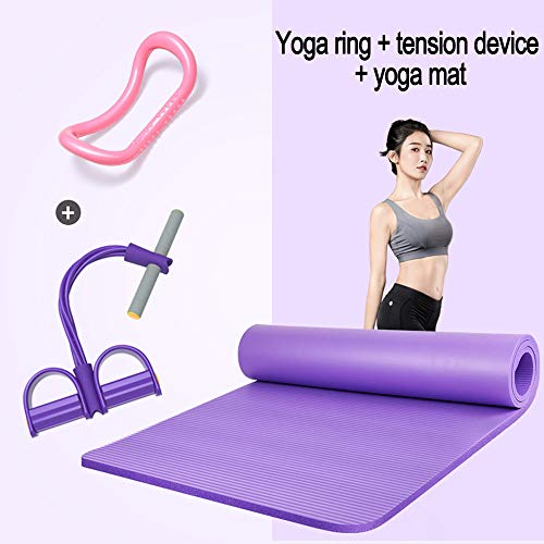 ZHANGZHIYUA voetpedaal trektouwweerstand oefening, fitness yoga uitrusting om op te zitten, yoga ring, multifunctionele spanband, yogamatten, antislip fitness mat trainingsmat