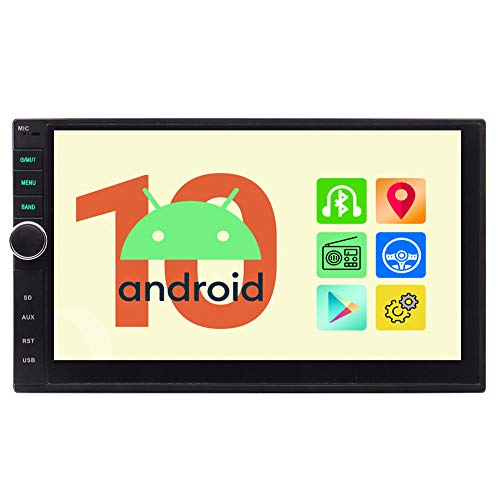 EinCar Android Auto 10.0 Double Din Radio Bluetooth Car Stereo GPS Navigation 7 Inch Capacitive Touch Screen Autoradio Support WiFi 1080P Mirror Link FM/AM RDS Radio Video Steering Wheel Control