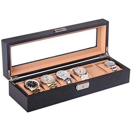 ZHANG Caja de Reloj Organizador de Exhibición de Vidrio Tapa Exterior Caja de Reloj Reloj para Hombre Fibra de Carbono Interior Cuero Marrón PU 6 Almacenamiento de Reloj