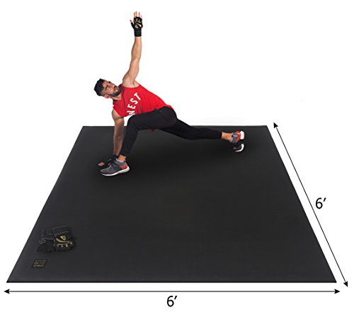 Gxmmat Large Exercise Mat 6'x6'x7mm, Workout Mats for Home Gym Flooring, Extra Wide and Thick Durable Cardio Mat, High Density Non Slip Fitness Mat for Plyo, MMA, JumpRope,Stretch, Shoe Friendly