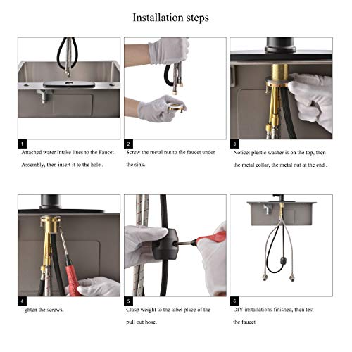 Kitchen Faucet Single Handle Brushed Nickel with Pull Down Sprayer, Commercial High Arc Pull Out Stainless Steel Kitchen Sink Faucets Single Hole