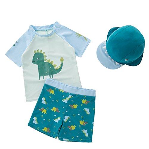 G-Kids Kinder Jungen Badeanzug Bademode Schwimmbekleidung Uv-Schutz Dinosaurier Bade-Set mit Hut (Blau, 3-4 Jahre)