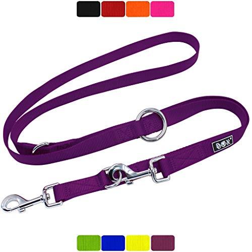 DDOXX Hundeleine Nylon, 3fach verstellbar | viele Farben & Größen | für kleine & große Hunde | Doppel-Leine Hund Katze Welpe | Schlepp-Leine groß | Führ-Leine klein | Lauf-Leine | S, Lila, 2m