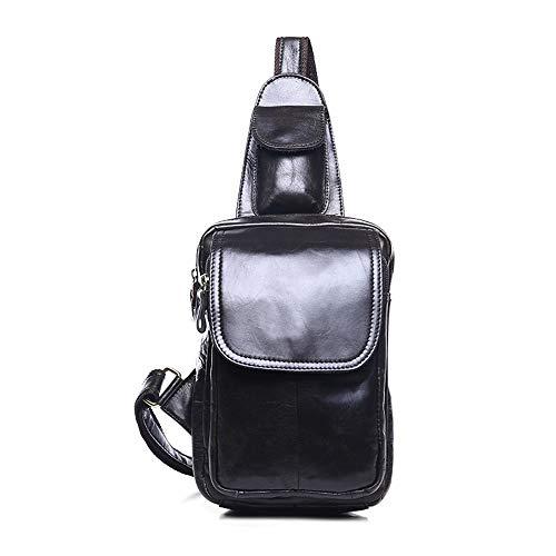 Borsa da Uomo Pelle Petto Singolo Sacchetto di Spalla Multifunzionale della Spalla della Borsa Classica da Uomo Bag Durevole Petto Bag (Colore : Nero)