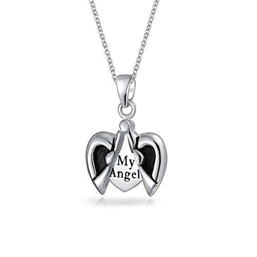 Mi Ángel Inspirador Abrir Word Forma Corazón Angel Wing Medallón Colgante Collar De Plata Esterlina 925 Para Mujeres