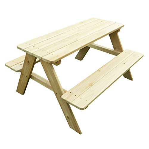 Merry Garden Kids Wooden Picnic Bench Outdoor Patio Dining Table, Natural