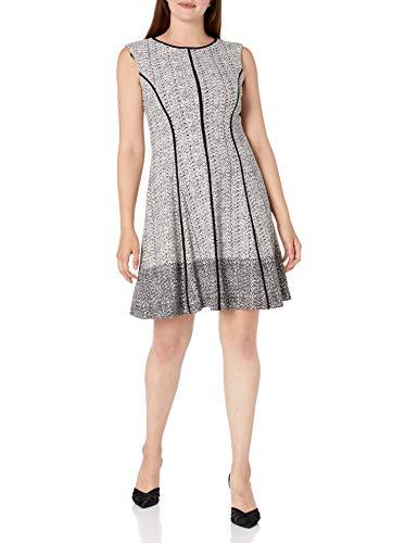 Sandra Darren Women's 1 PC Extended Shoulder Bullet Knit Fit & Flare Dress, Black Combo, 8 (Apparel)