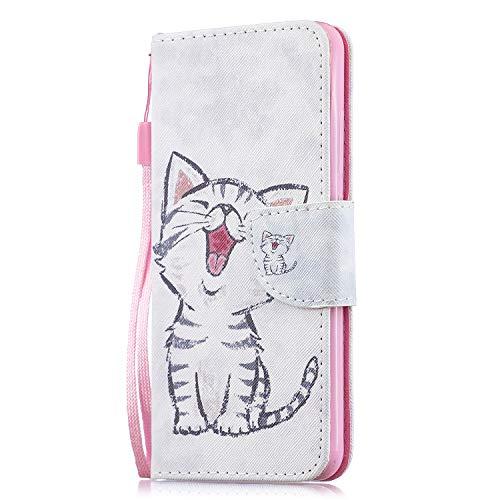 Funluna Hülle für Xiaomi Mi 8 Lite, Lederhülle Stoßfest Klapphülle Brieftasche, Trageschlaufe, Ständer, Kartenfächer, Magnetverschluss Handy Shell für Xiaomi Mi 8 Lite, Süße Katze