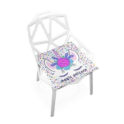 Linomo - Cojín de espuma viscoelástica para silla, diseño de flores y unicornios, 40 x 40 cm