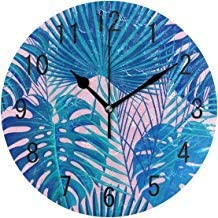 Fashion Tropical Exotic Palm Tree Monstera Leaves Round Wood Wall Clock for Home Decor Living Room Kitchen Bedroom Office School