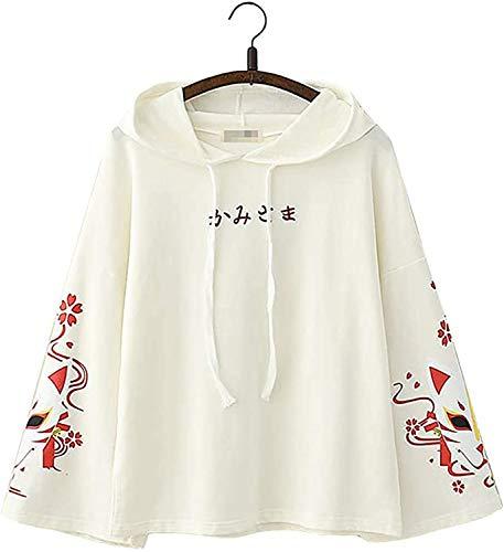 FAITH WING Semplice Giapponese Testo Moda di Moda Estetico Minimalista Elegante Volpe Design Lungo Maniche Felpa con Cappuccio Giacca (Bianco)