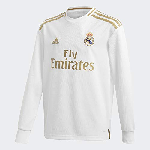 adidas 2019-2020 Real Madrid Home Long Sleeve Football Soccer T-Shirt Jersey (Kids)