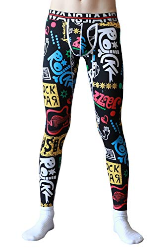 """ARCITON Men's Low Rise Leggings Long Johns Bottoms Thermal Pant US M/with Tag L(Waist: 33""""- 35"""") 4024CKU Rock Star"""