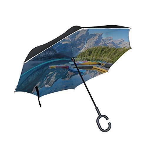 Double Layer Inverted Umbrella Klappbarer Fischer Segelboot Klappstühle Umbrella Invertierter Regenschirm für Mädchen Winddichter UV-Schutz für Regen Mit C-förmigem Griff