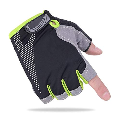 Looking back is the shore Half Finger Outdoor Sports Gloves Spring and Summer Autumn Non-Slip Windproof Mountain Bike Men and Women Gloves, A Variety of Colors Gloves (Color : Green, Size : M)