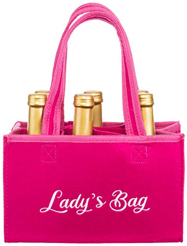 Brandsseller Damen Handtasche Lady´s Bag Flaschenkorb Flaschenträger Einkaufstasche Aufbewahrungstasche für 6 Flaschen Pink