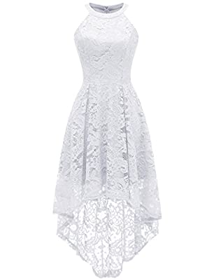 Dressystar 0028 Halter Floral Lace Cocktail Party Dress Hi-Lo Bridesmaid Dress M White