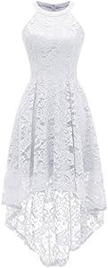 Dressystar Vestido Cóctel Hi-lo Flor Encaje Elegante Mujer Sin Manga Cuello Halter Blanco XL