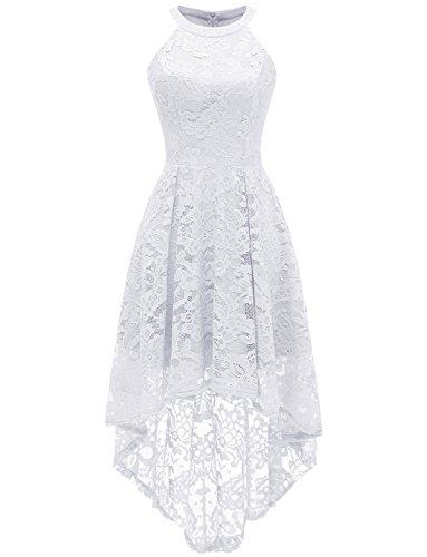 Dressystar Vestido Cóctel Hi-lo Flor Encaje Elegante Mujer Sin Manga Cuello Halter Blanco M