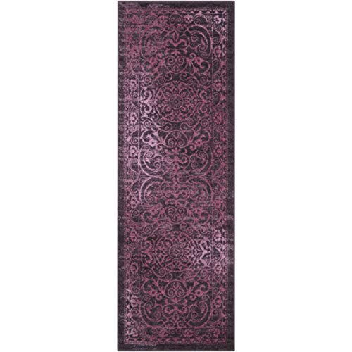 Maples Rugs Runner Rug - Pelham 24'x72' Non Skid Hallway Carpet Entry Rugs Runners [Made in USA] for Kitchen and Entryway, Wineberry Red