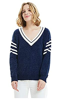 ilishop Women's Solid Color Sweater Casual Long Sleeve V Neck Knits Pullover Navy M