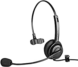 Executive Pro Single-Ear Computer USB Headset – Works with PC and Mac – Great for Skype or Voice Dictation (Noise-Canceling)