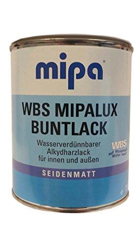 Mipa WBS Mipalux RAL 9001 - Pintura de resina alquídica (0,75 ml, para interiores y exteriores, color a elegir), color blanco crema