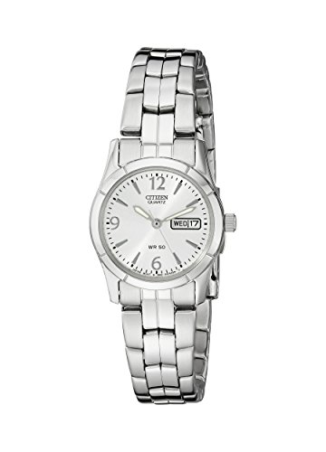 Citizen Women's Quartz Silver-Tone Watch with Day/Date display, EQ0540-57A