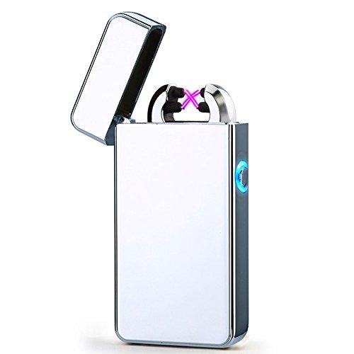 CHAOBEITE USB Elektronisches Feuerzeug Dual Lichtbogen Aufladbar Winddicht (Silber) Silber