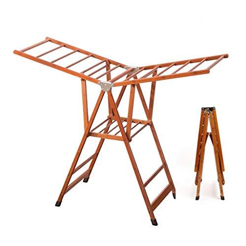 Tendedero Suspensión De Bambú Plegable Tendedero De Ropa Plegable Tenderete Ropa Tendedero Vertical Tendedero Balcon (Color : Brown, Size : 74 * 50 * 93cm)