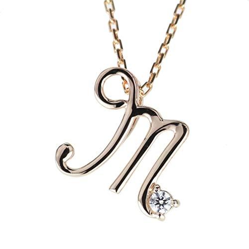 (リュイール) ネックレス レディース イニシャル m ダイヤモンド 18金 一粒 ダイヤ 人気 可愛い k18ピンクゴールド
