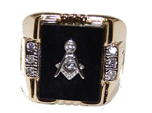 Diamantados of Fla Freemason–Masónico Anillo 18K Amarillo Chapado en...