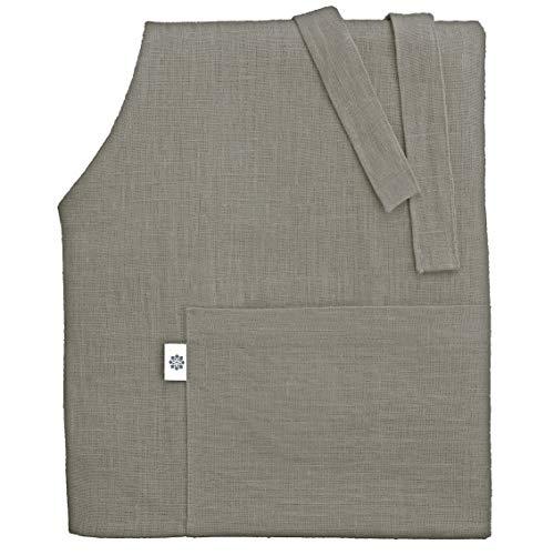 Linen & Cotton Tablier de Cuisine de Ella, 100% Lin - Gris (70 x 84cm)