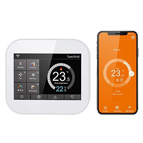 Termostato Intelligente WiFi CURCONSA per Caldaie a Gas, Termostato Programmabile con Touch Screen a Colori TFT da 3,5 Pollici, Compatibile con Aleax, Google Assistant, Uscita Elettrica a Secco