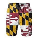 YongColer Men's Hawaiian Beach Shorts Flag of Maryland Printed...