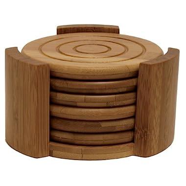 Lipper International 8833 Bamboo Wood Round Coasters and Caddy, 7-Piece Set