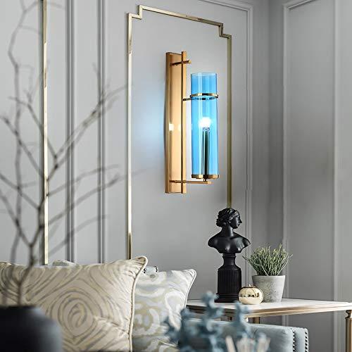 De enige goede kwaliteit Decoratie Postmodern Glas Wandlamp Woonkamer Wanddecoratie Creatieve Lamp Slaapkamer Slaapbank Persoonlijkheid Blauw Wandlamp 21 * 80cm