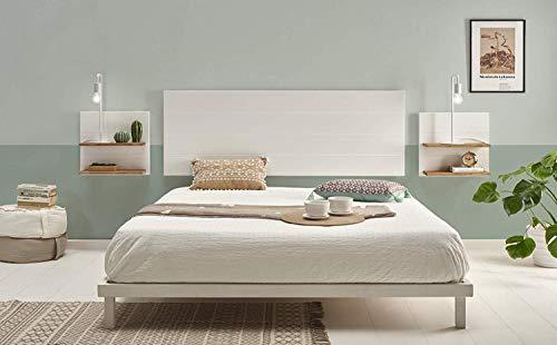 HOGAR24 ES Cabecero Madera Blanca + 2 mesitas con estantes Combinado Madera Maciza Natural Encerado y Fondo Blanco, Medidas cabecero; 155 x 60 x 2 cm