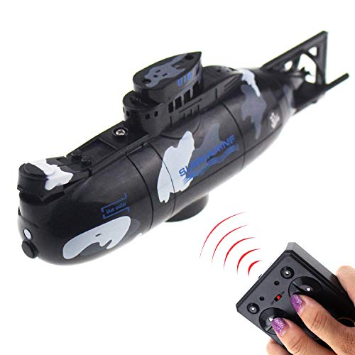 Tipmant Mini RC Submarine Radio Remote Control Boat Ship Military Model Electric Water Toy Waterproof Diving Kids Gift Black