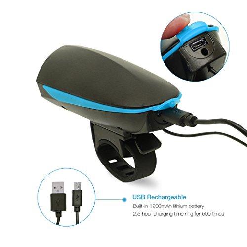 Agapo Fahrradhorn Fahrradhupe Fahrradklingel mit 2 Tönen bis zu 140 dB Wiederaufladbare USB Kabel - 4