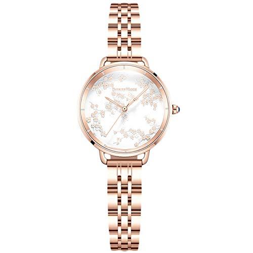 RORIOS Mujer Relojes Analógico Cuarzo Relojes con Oro Rosa Correa Acero Inoxidable Luminoso Elegante Relojes de Pulsera Moda Vestir Reloj