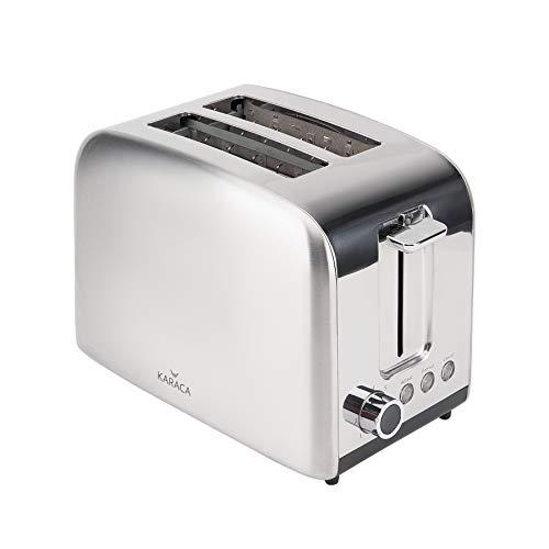 Karaca Inox Toaster, 850 W, 7 verschiedene Frittierstufen, toaster 2 scheiben, grill elektrisch, brötchen zum aufbacken,Brötchenaufsatz & integrierte Toast