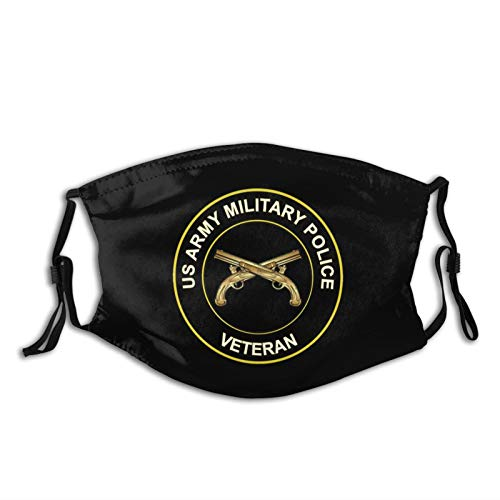 Cubbe Us Army Veteran Military Police Logo Cloth Face Mask Washable Anti Filter Dust Fabric Mouth Mask Reusable Custom For Men Womem., 1, 1 PCS