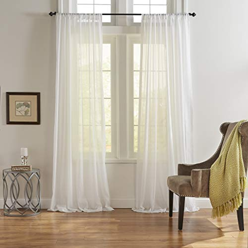"""Elrene Home Fashions Asher Cottagecore Cotton Voile Sheer Window Curtain Panel, 52"""" x 95"""" (1, White"""