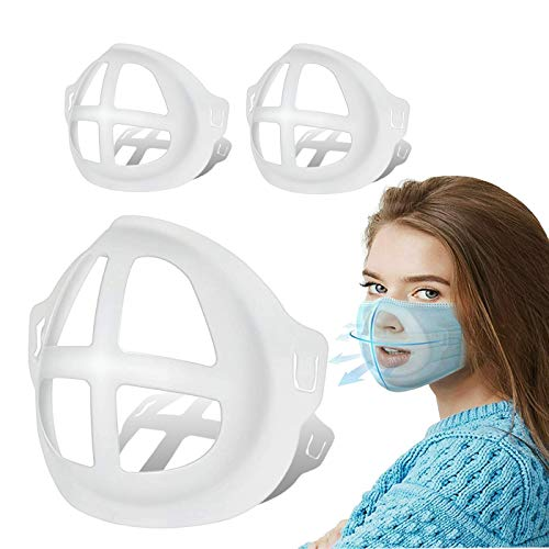 3D Face Mask Bracket - Cool Turtle Insert Support Frame for Comfortable Breathing - Washable and Reusable Inner Face Guard Protect Lipstick Lip | Makeup - 3Pcs White